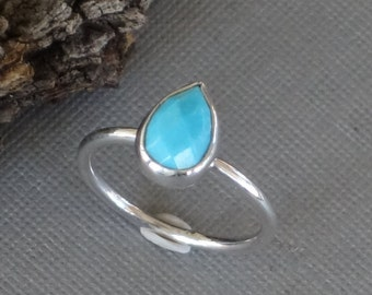 Turquoise Ring, Teardrop Ring, Checkerboard Cut, Silver Ring