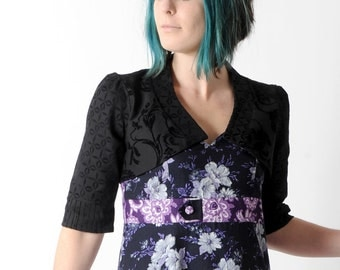 Black floral bolero, Bolero jacket in black floral fabric with mid-length sleeves, Shrugs and boleros, size FR 40 / UK 12