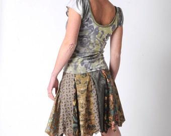 Green patchwork skirt, Khaki green short patchwork skirt, Green cotton skirt, Short green summer skirt UK 12 / FR 40