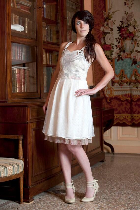 Short off-white dress, Alternative wedding dress, Bird print and mesh dress, Bare back dress