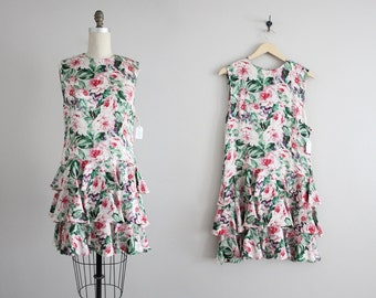 floral silk dress / floral dress / drop waist dress