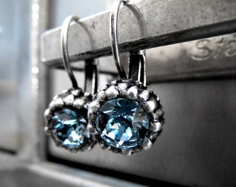 Blue Crystal Sea Urchin Earrings, Ocean Inspired Nature Earrings, Swarovski Crystal, Small Petite Blue Antiqued Silver Leverback Earrings