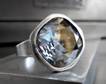 After the Storm Crystal Ring, Swarovski Muted Grey-Blue with Gold Sheen, Modern Cast Antique Silver Adjustable Ring, Modern Jewelry 4470