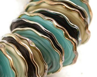 Black Ivory and Turquoise disc Lampwork beads SRA 28 artisan glass beads,Unique Beads for Crafts, jewelry supplies, DIY nakelace making