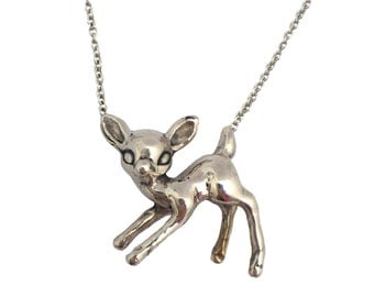 Deer Necklace      fawn bambi charm pendant jewelry silver gold