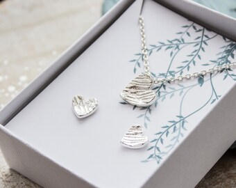 Textured Silver Heart Necklace and matching earrings - Solid Silver Heart Necklace, Textured Handmade Heart Earrings, bridesmaid gift
