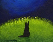 Black German Shepherd Dog art PRINT of Todd Young painting Over the Moon