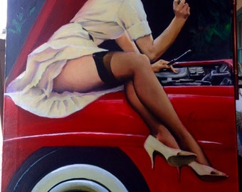 1 Week Estate Sale! ELVGREN - HELP WANTED Original Painting 24x30 - Famous Pinup Vancas of Mercedes Up Skirt Pin-Up Exposes Nylons Stockings