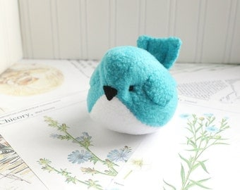 Aqua Teal Blue Fleece Bird Handmade Stuffed Animal Turquoise Plush Bird Bluebird Stuffed Animal