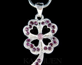 Irish Swarovski Crystal Saint Patrick's Day Lucky Purple Four Leaf CLOVER SHAMROCK Pendant Charm Chain Necklace Jewelry Christmas Gift New