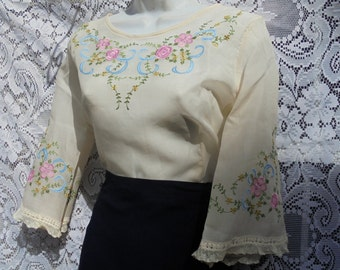 Ivory floral  blouse top lace  vintage sheer  romantic embroidered small  medium from vintage opulence on Etsy