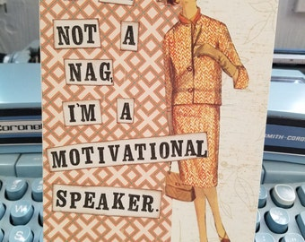Nagging Housewife Humor Card Handmade Collage Art Hand stamped Blank inside