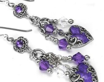 Amethyst Crystal -  Heart Earrings - Purple Earrings - Crystal Earrings - February Birthstone Earrings - Dangle Earrings - Valentines Day