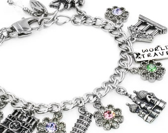 Travel Bracelet, World Travel Jewelry, Wanderlust Bracelet, Travel the world, Personalized Travel Bracelet