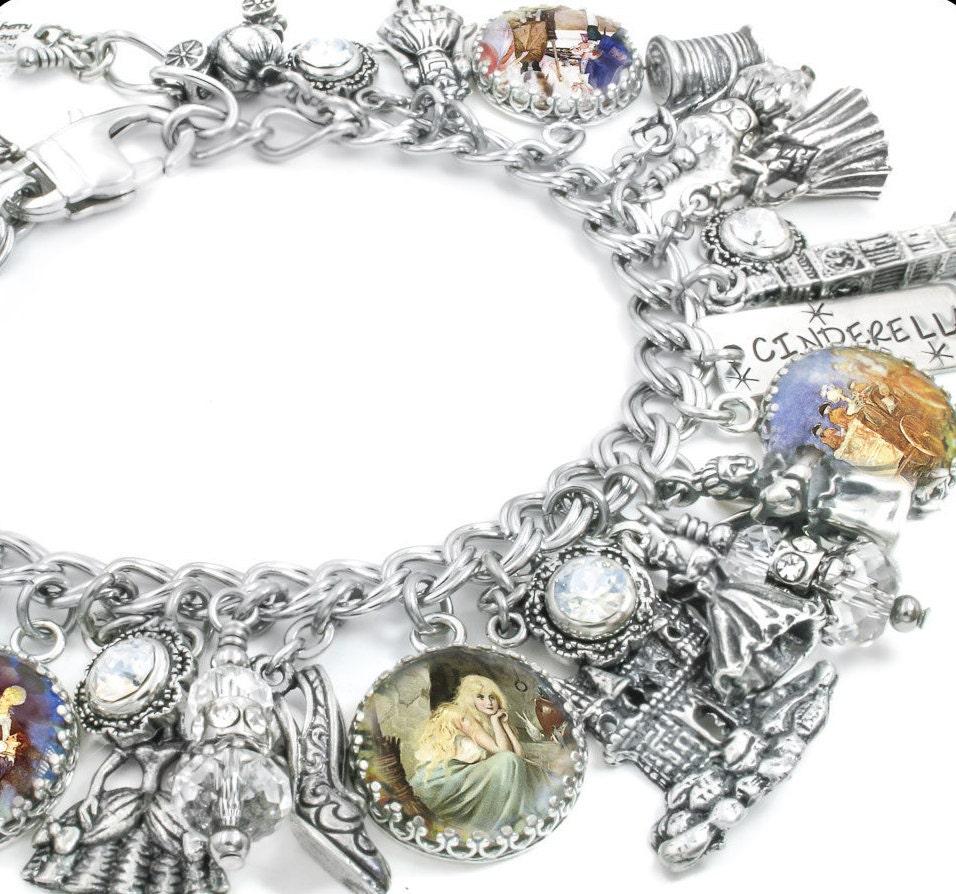 cinderella charm bracelet silver charm by blackberrydesigns