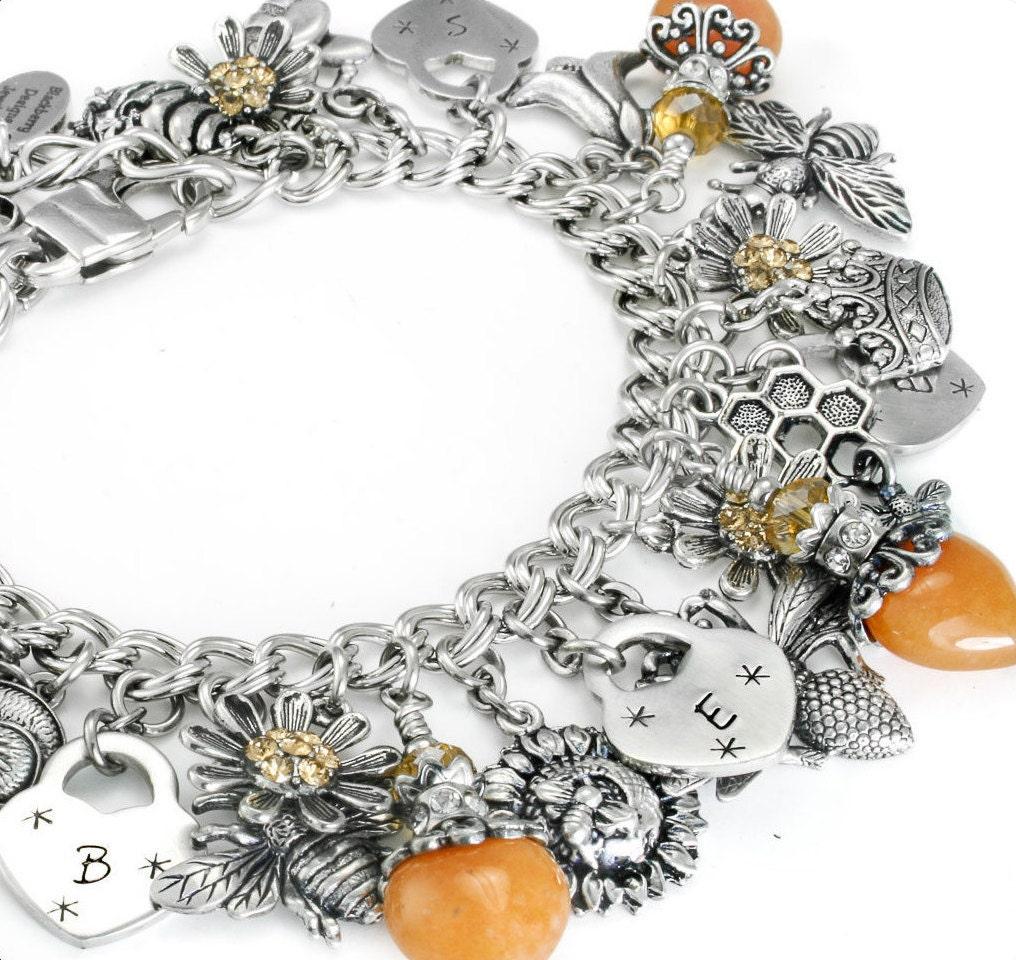 bee jewelry honey bee personalized bee bracelet bumble bee. Black Bedroom Furniture Sets. Home Design Ideas