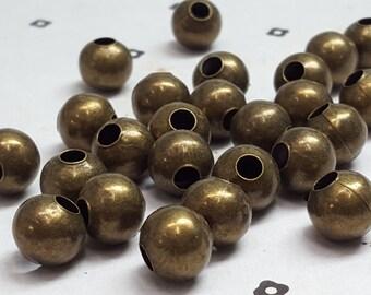 10mm Huge Antique Bronze round metal beads