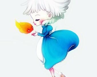 Sophie and Calcifer - 5 x 7 Howl's Moving Castle print - illustration kawaii cute nursery art anime silver hair fly okay blue miyazaki