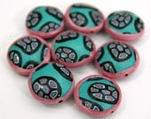 Set of EIGHT Handmade Polymer Clay Round Puffy Pillow Shaped Beads in Turquoise Sparkle Pink and Black