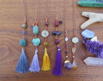 Choose your Spring Summer Crystal Necklace - Tassel - Fun Bright Bohemian Style - Festival Fashion - Boho Chic - Bohemian Copper Chain Hippy