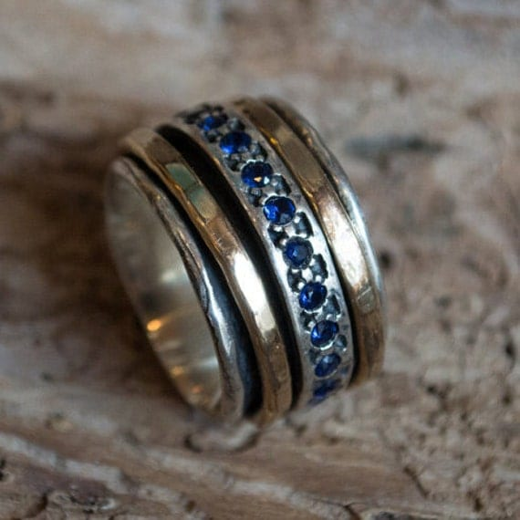 Meditation Ring, silver band, sapphire ring, gold filled ring, stacking spinner ring, wide silver ring, wedding ring - Endlessly R1075L-5
