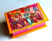Cats Jewelry Box, Large, Cats with Crowns in Garden, Whimsical Art Box, Decoupage, Orange and Hot Pink with Brass Clasp