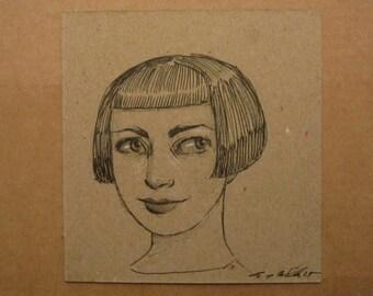 "Original Ink Drawing ""Effie"" by Amy Abshier-Reyes"