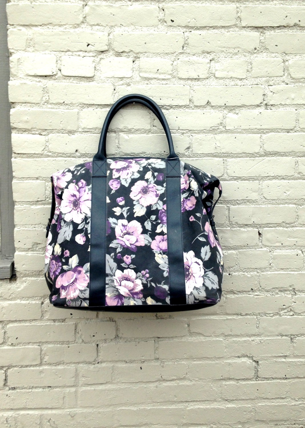Oversized Canvas Duffle Bag // Floral Duffel Bag // Gloria