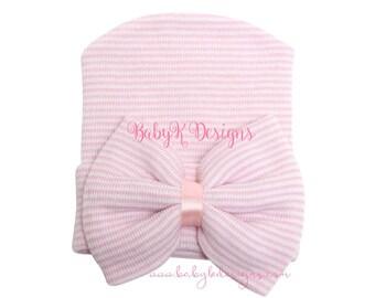 Newborn Hospital Hat Baby Girl Hat Pink n White Newborn Girl Hospital Hat Baby Beanie Bow Baby Hat Coming Home Announcement BabyKDesigns