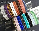HEALING GEMS: 5-6mm round smooth or faceted beaded bracelets. Stackable layering elastic stretchy Chemo Care Package Bracelets. Gift. S