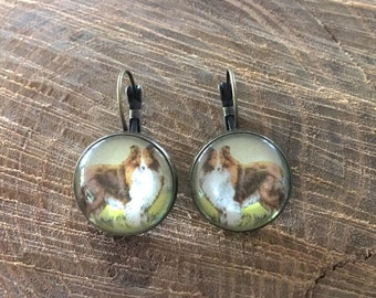 15% OFF with code PEACEANDLOVE, collie earrings | dog jewelry, lassie, animal lover, dangle, brass