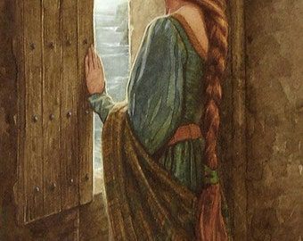 Art Print on SILK Medieval Woman w red braided hair looking out castle window- fun for all artistic Endeavors - fiber arts Crazy Quilting