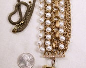 Large Unusual Unique Brass Locket Necklace With Rhinestones Imitation Pearls Chains Flowers Original Design OOAK Louzart Final Sale