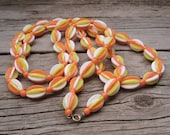Plastic Necklace 60s Mod Long Necklace Orange Yellow + White Bead Necklace