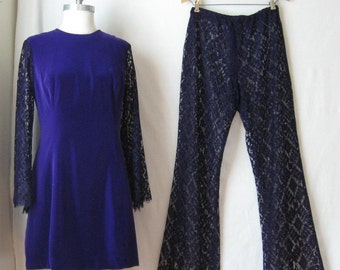 Velvet Dress + Lace Bellbottoms 1960s Pant Suit Bell Sleeve Dress + Flared Pants Two Piece Set / Outfit