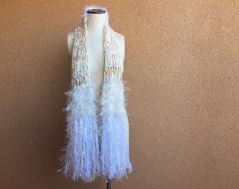 Boho Scarf, Subtle Color Mostly White Scarf for Girls or Women Accessories White Boho Scarf Boho White Scarf Chakra Scarf Energy Scarf
