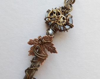 Falling Maple Leaf Clockwork Key Pendant (A key to time) -- Wire Wrapped Steampunk Key Necklace, Copper Maple Leaf and Gears