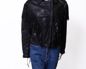 Vintage Motorcycle Jacket //  Black Fringe Leather Jacket // Braided Leather // S/M