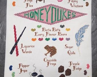 HONEYDUKES Candy Sampler Cross Stitch - Harry Potter Pattern Only