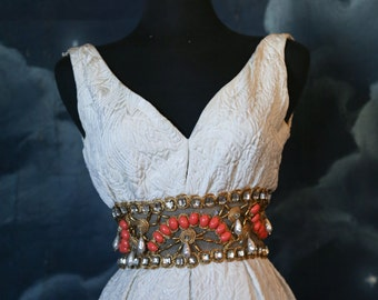 Vintage 1960s Designer Ceil Chapman Beaded Evening Maxi Gown- Size XSmall