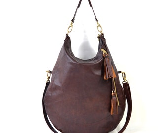 Roselle Twin Size Brown Leather Hobo Bag Handmade