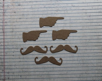 6 Bare chipboard small Pointing Finger and Mustache Die cuts