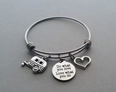Camping Charm Bracelet, Camping Bangle, Camper Charm, RV Charm, Love What You Do, Happy Camper, Summer Camp, Stainless Steel Bangle