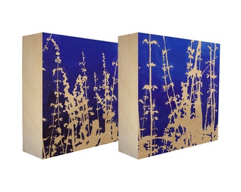 Set of 2 art blocks - Limited edition botanical prints on birch panel, plant silhouettes - Free Shipping - Ready to hang - Overnight Magic