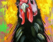 Rooster 815 12x24 inch original animal portrait oil painting by Roz