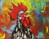 Rooster 766 12x24 inch animal portrait original oil painting by Roz