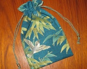 Japanese Sparrows and Bamboo Design Tiny Tote Pouch Purse Organizer