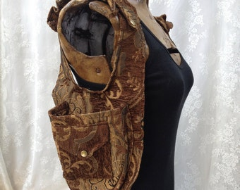 USA made shoulder holster - Burning desert Man festival shoulder holster - fancy purse vest - brown and gold utility vest - Small Wide