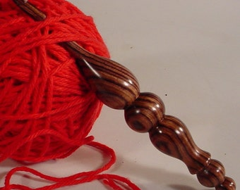 Hand Turned Exotic Kingwood Wooden Crochet Hook Made in USA