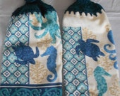 Sea Creature Themed Crocheted Top Hand Towel Ocean Creature Handle top towel set Granny Kitchen Towel Hand Towel Set